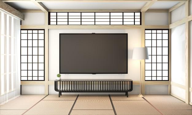 Sala de tv, tv inteligente na parede zen quarto chiqueiro muito japonês e piso de tatame. renderização em 3d