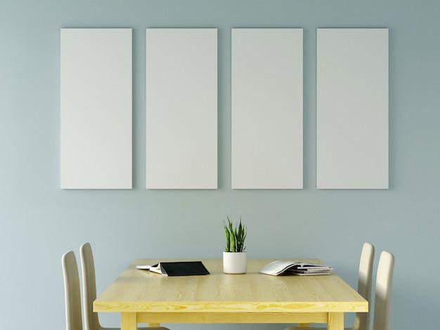 Sala de visitas azul da hortelã moderna com sofá e mobília e grupo de moldura para retrato na parede. 3d rendem.