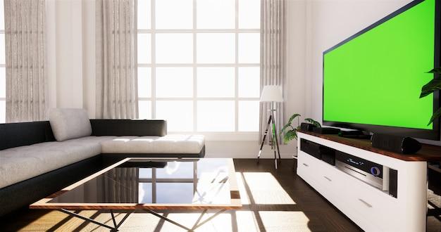 Sala de visitas da opinião do mar na casa de verão moderna da praia. renderização 3d