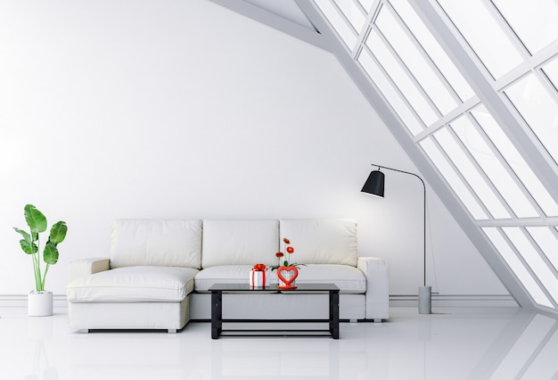 Sala de visitas interior com sofá e valentim do presente.