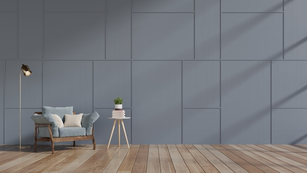 Sala de visitas moderna com as prateleiras azuis da poltrona e da madeira no revestimento de madeira e na obscuridade - parede azul.
