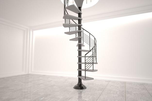 Sala digitalmente gerada com escada em caracol