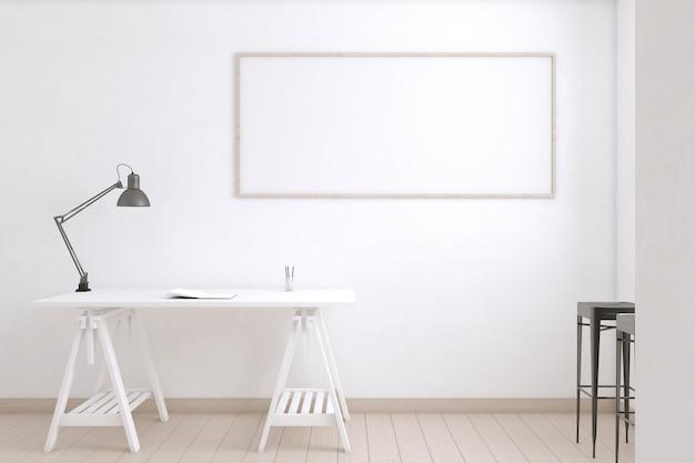 Sala do artista com lâmpada e mesa