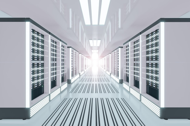 Sala do computador servidor com reflexo de luz no tema branco. renderização de ilustração 3d.