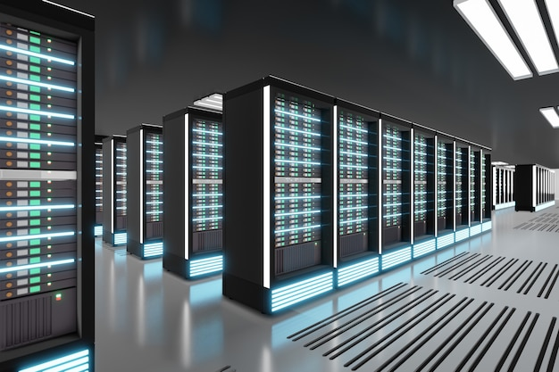 Sala do computador servidor com reflexo de luz no tema preto. renderização de ilustração 3d.