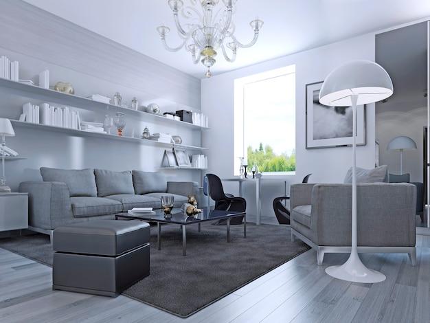 Sala em estilo moderno. sala de estar elegante com paredes brancas e piso laminado cinza claro. sistema de parede com prateleiras brancas. móveis ikea. renderização 3d