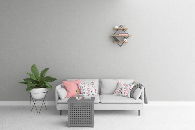 Sala escandinava com sofá cinza