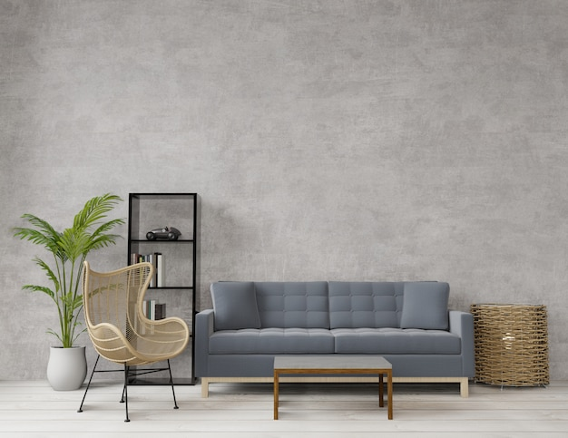 Sala estilo loft com concreto bruto