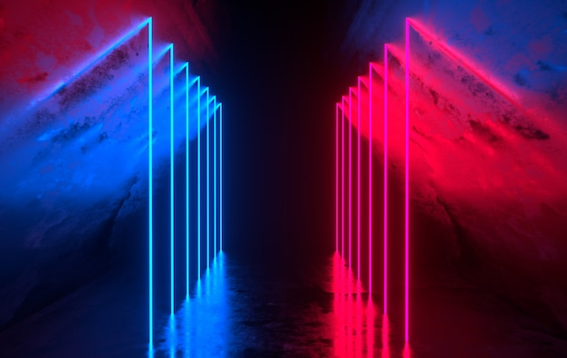 Sala futurista de concreto com luzes de néon brilhantes