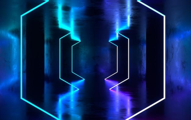 Sala futurista de concreto scifi com néon brilhante