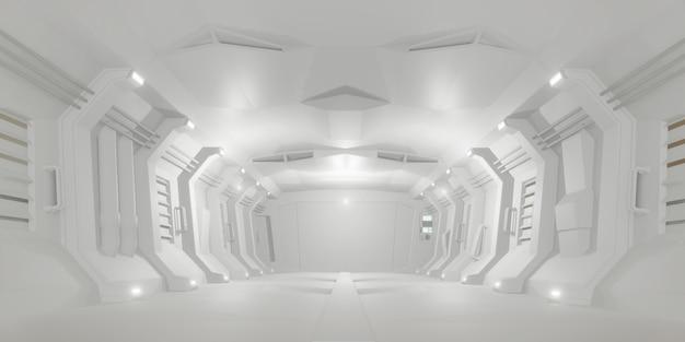 Sala futurista do corredor da ficção científica branca. estilo de fundo futuro moderno, conceito interior. renderização em 3d