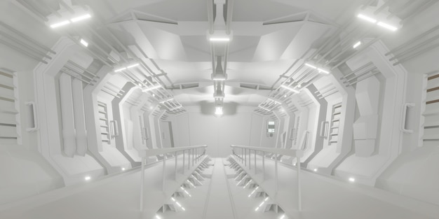 Sala futurista do corredor da ficção científica branca.