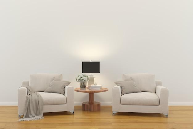 Sala interior. 3d render piso de madeira parede de madeira design cópia espaço