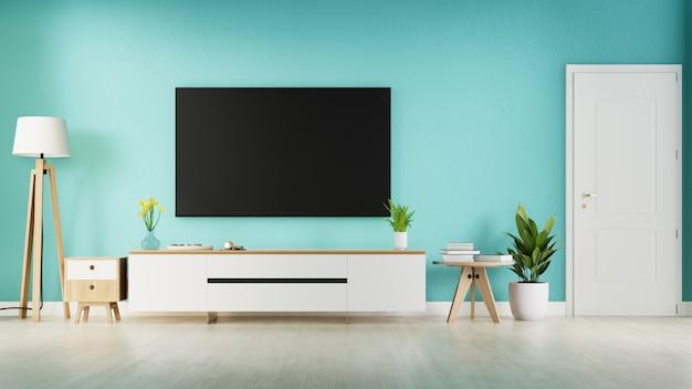 Sala interior com armário de tv. renderização em 3d.