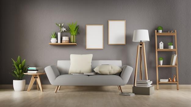 Sala interior com sofá branco. renderização em 3d.