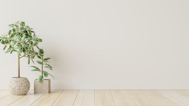 Sala interior vazia de parede branca com plantas no chão, renderização em 3d