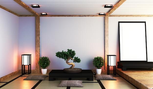 Sala japonesa com lâmpada
