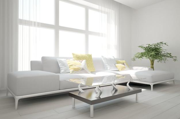 Sala moder com design de interiores de sofá e mesa. ilustração 3d