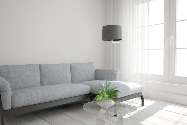 Sala moderna com design interior de sofá e lâmpada. ilustração 3d
