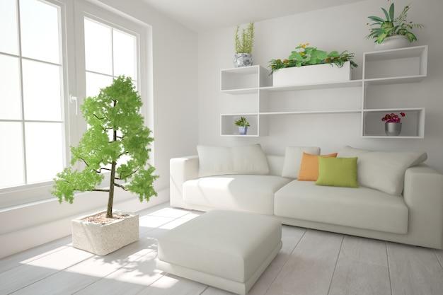 Sala moderna com sofá e design de interiores de flores. ilustração 3d