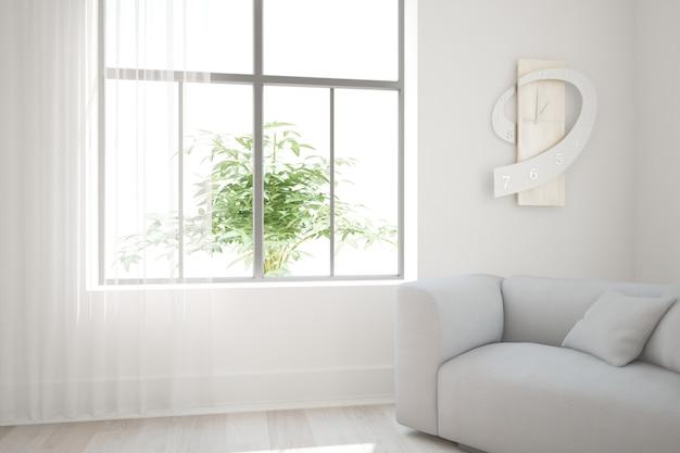Sala moderna com sofá e design de interiores oclock. ilustração 3d