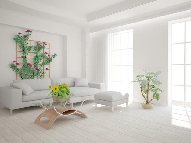 Sala moderna com sofá e plantas de design de interiores. ilustração 3d