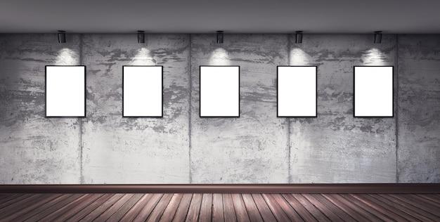 Sala moderna galeria de concreto com piso de madeira, holofotes direcionais e molduras. quadros de arte isolado branco. ilustração de renderização 3d