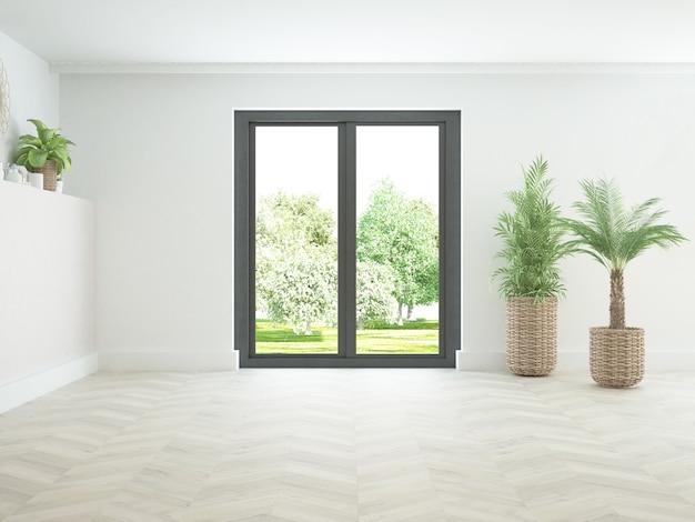 Sala quase vazia com janela com vista para o jardim