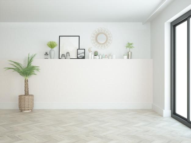 Sala quase vazia com pequenas decorações e piso de madeira