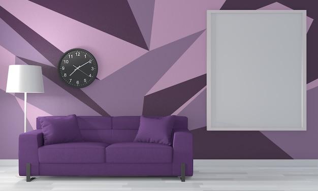 Sala roxa geométrica arte da parede pintura cor estilo completo no piso de madeira. renderização 3d
