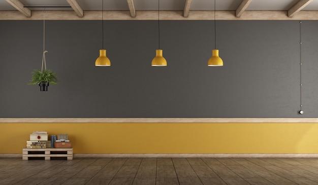 Sala vazia cinza e amarela