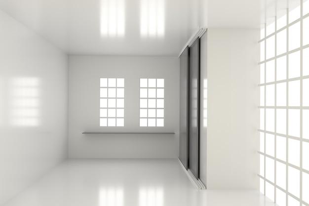 Sala vazia com concreto na renderização em 3d