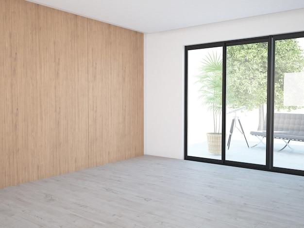 Sala vazia com janelas e parede de madeira