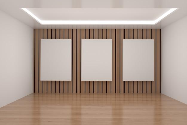 Sala vazia com mock up frame na renderização em 3d
