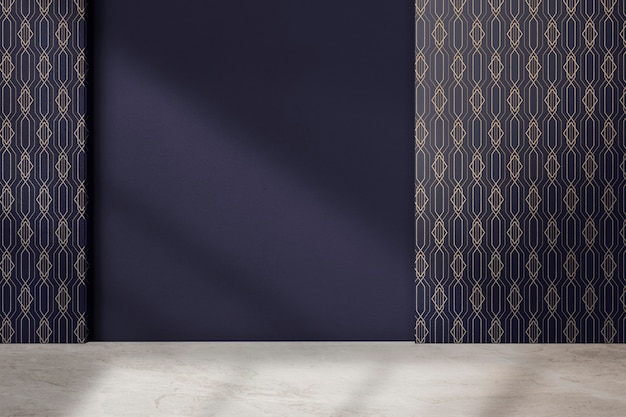 Sala vazia com padrão geométrico e design de interiores autêntico