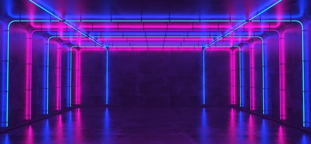 Sala vazia com paredes de concreto e luzes de néon