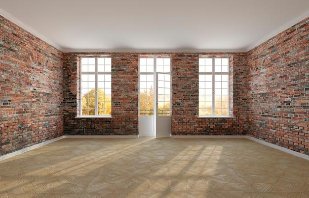 Sala vazia com paredes de tijolos