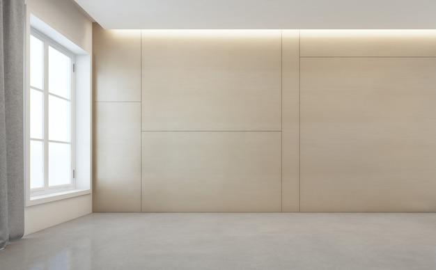 Sala vazia com piso de concreto branco e parede de madeira em casa moderna.