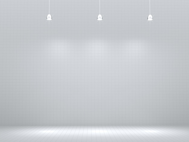 Sala vazia com ponto de luz, em branco para a vitrine do produto. renderização 3d.