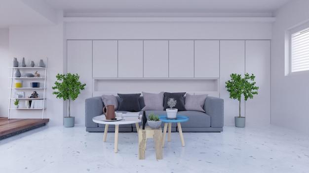 Sala vazia com sofá, lâmpada, armário, plantas e parede branca ao fundo, 3d rende