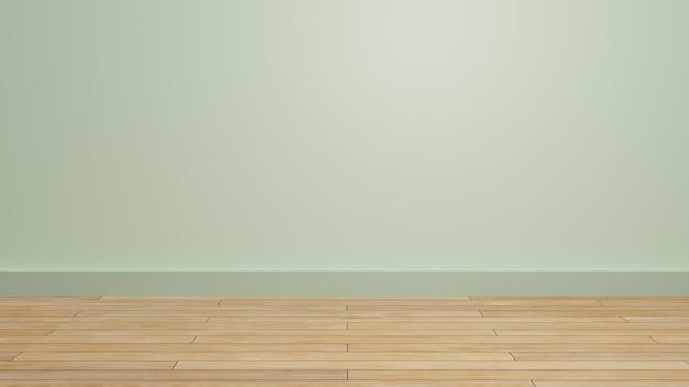 Sala vazia com textura de piso de madeira para exibição de apresentação de produto em parede com tema pastel
