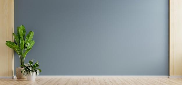Sala vazia de parede azul escura com plantas no chão, renderização em 3d