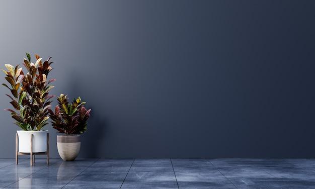 Sala vazia de parede escura com plantas no chão, renderização em 3d