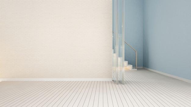 Sala vazia e parede de tijolo branco no apartamento ou em casa - 3d render