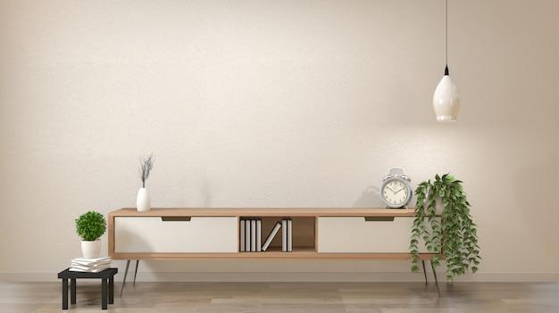 Sala vazia moderna do zen, estilo japonês do projeto mínimo. renderização em 3d