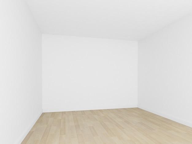 Sala vazia, parede branca com piso de madeira, interior 3d