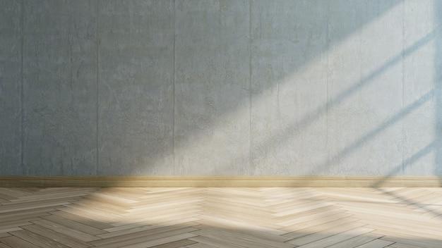 Sala vazia . parede de concreto e piso de madeira, renderização em 3d
