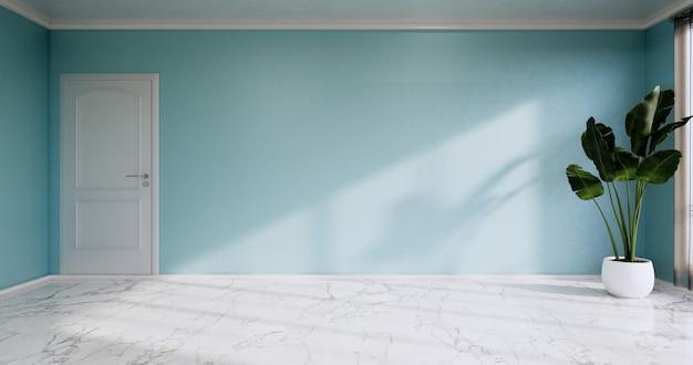 Sala vazia - sala limpa, design de interiores minimalista, parede de hortelã no piso de ladrilhos de granito. renderização 3d
