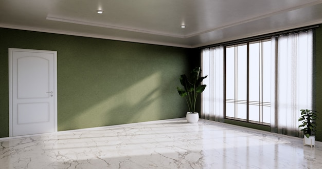 Sala vazia - sala limpa, design de interiores minimalista, parede verde em piso de ladrilhos de granito. renderização 3d