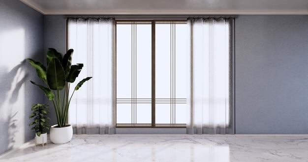 Sala vazia - sala limpa, design interior minimalista, parede azul no piso de ladrilhos de granito. renderização 3d